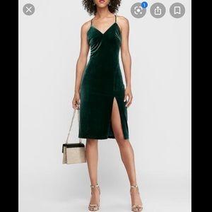 Express green velvet v neck halter strap dress
